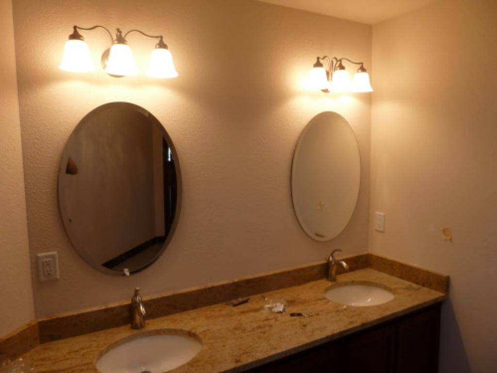 Bathroom Ideas: White Framed Cheap Oval Bathroom Mirrors Above with Oval Cream Mirrors (Image 3 of 15)