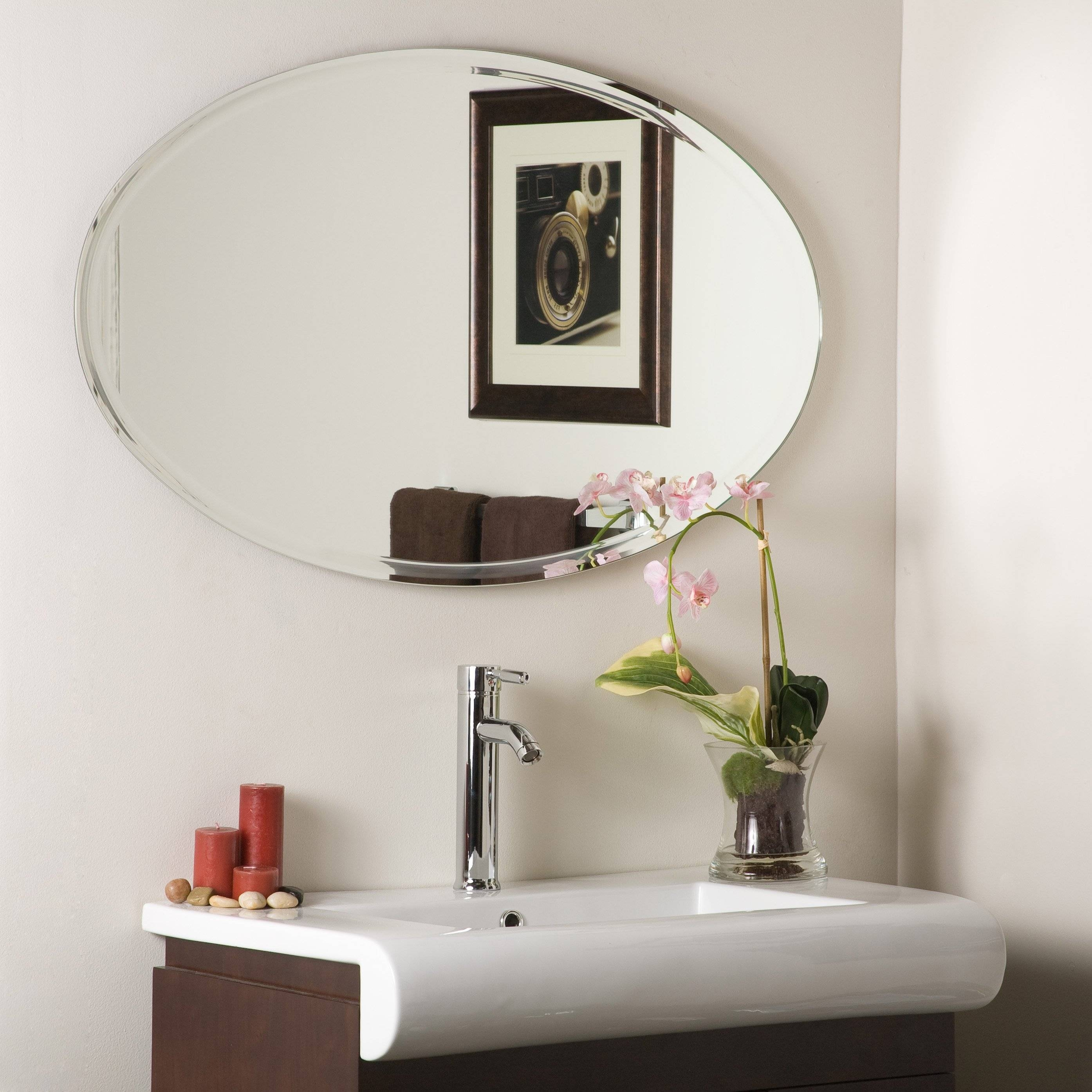 Bathroom: Large Vanity Mirror | Oval Mirrors For Bathroom | Lowes pertaining to Large Oval Wall Mirrors (Image 5 of 15)