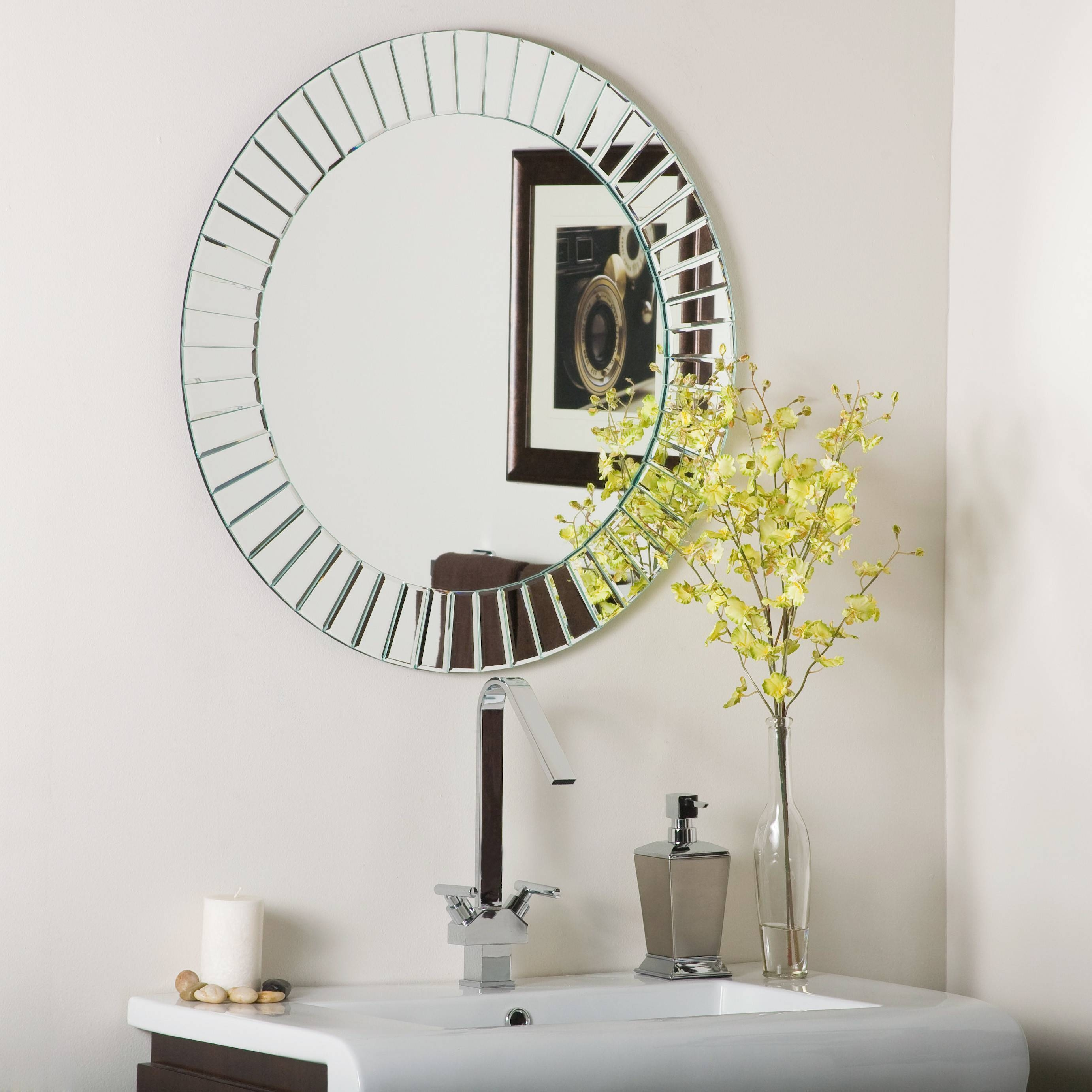 Bathroom: Light Up Your Home With Frameless Beveled Mirror pertaining to Unframed Wall Mirrors (Image 6 of 15)