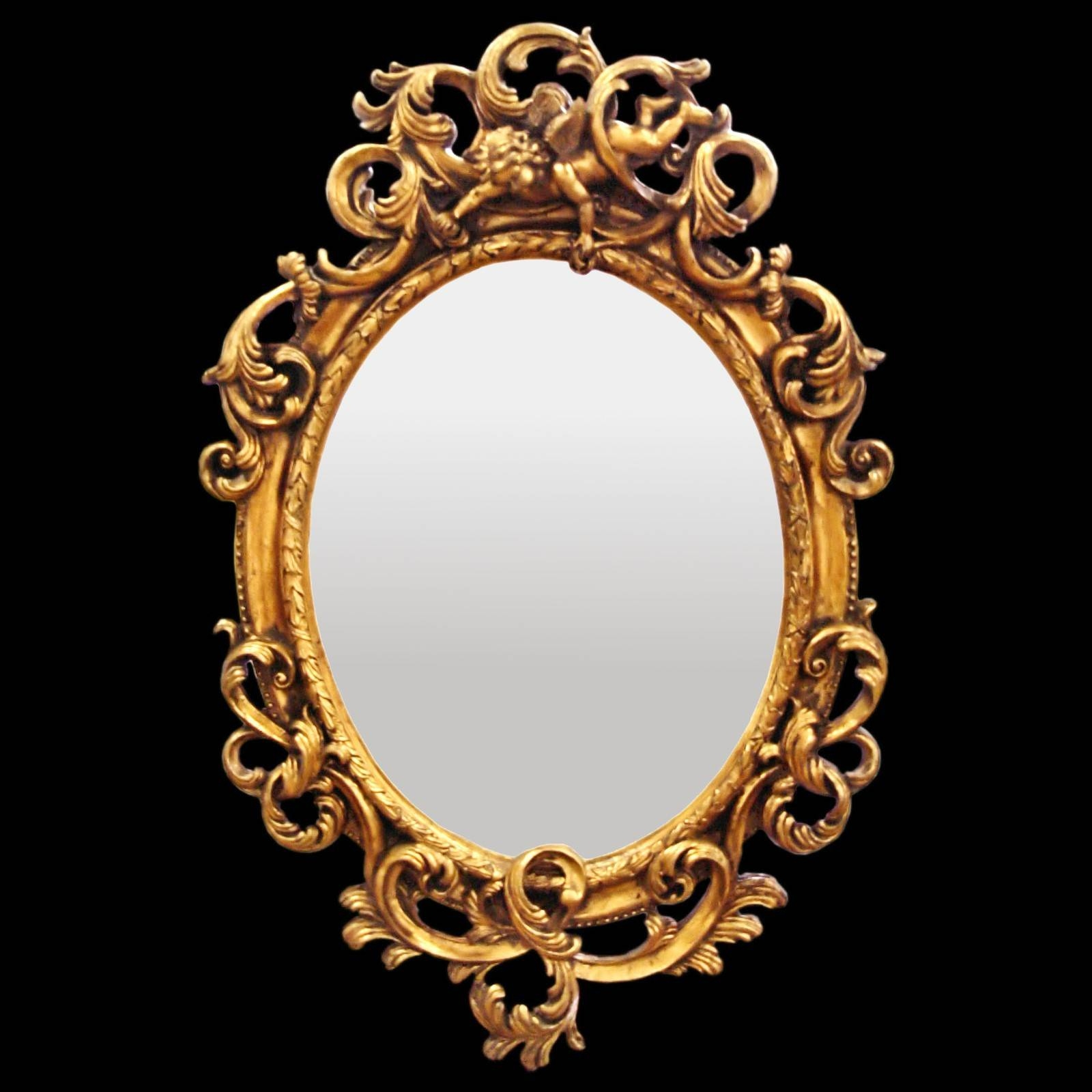 Bathroom Mirror Oval Wall Mirror Baroque De Luxe Gold Acanthus Intended For Baroque Wall Mirrors (View 5 of 15)