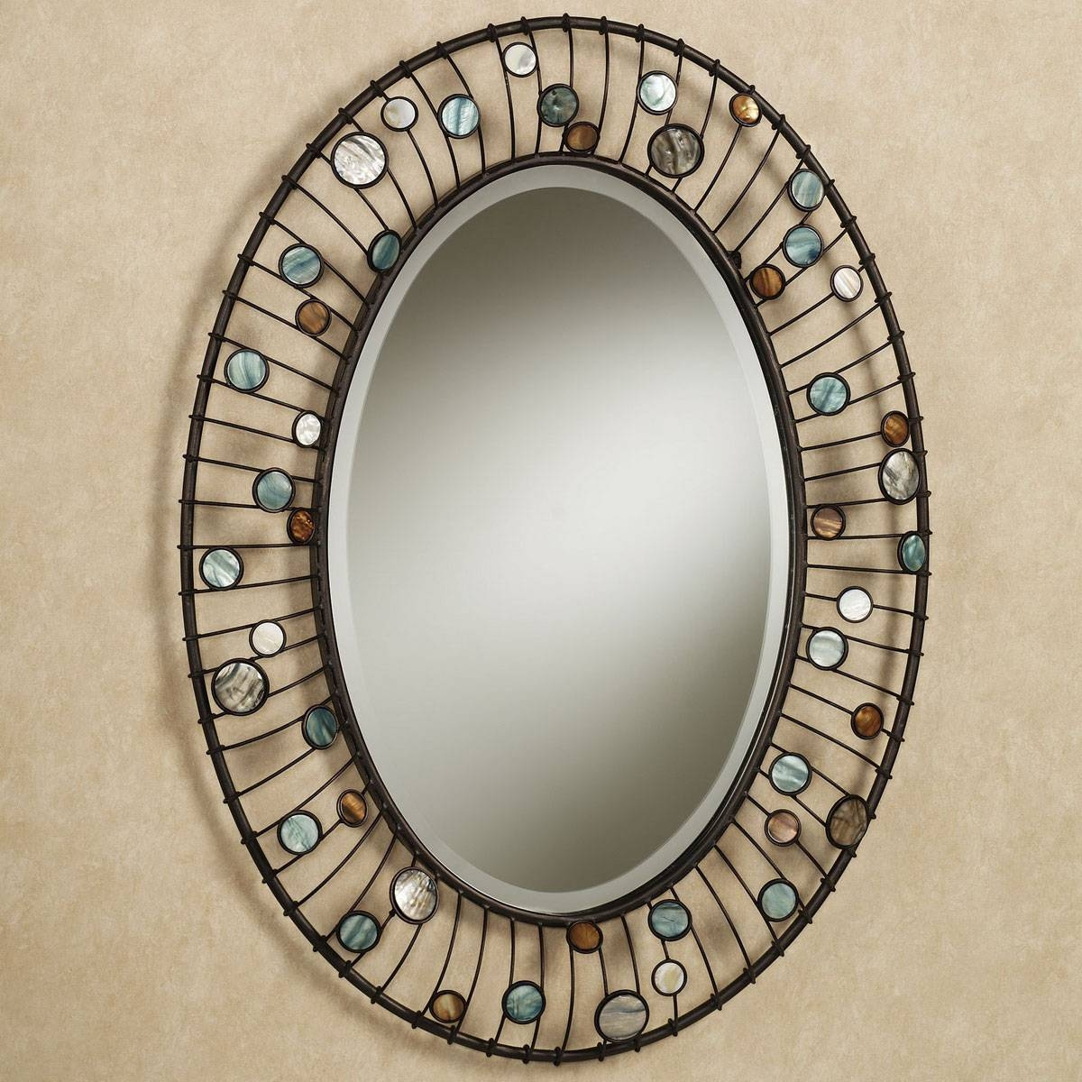 Bathroom: Mirrors For Bathrooms Ideas Hung On Cream Wall With Oval for Cream Mirrors (Image 4 of 15)
