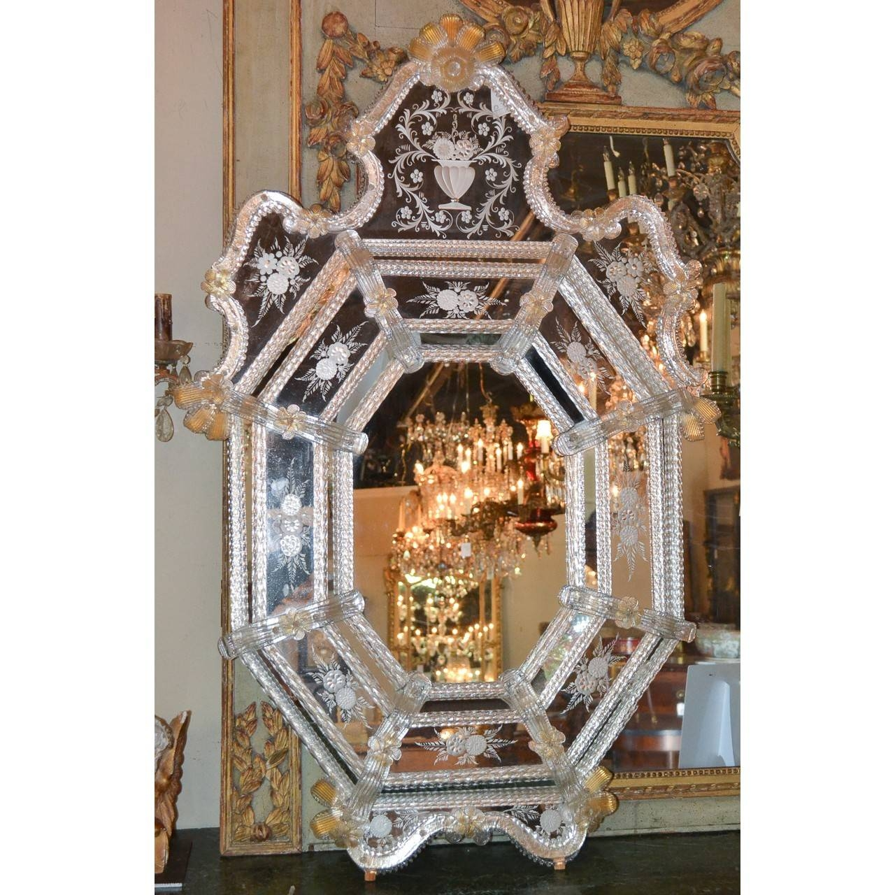Beautiful Antique Venetian Etched Glass Mirror - Legacy Antiques inside Venetian Etched Glass Mirrors (Image 3 of 15)