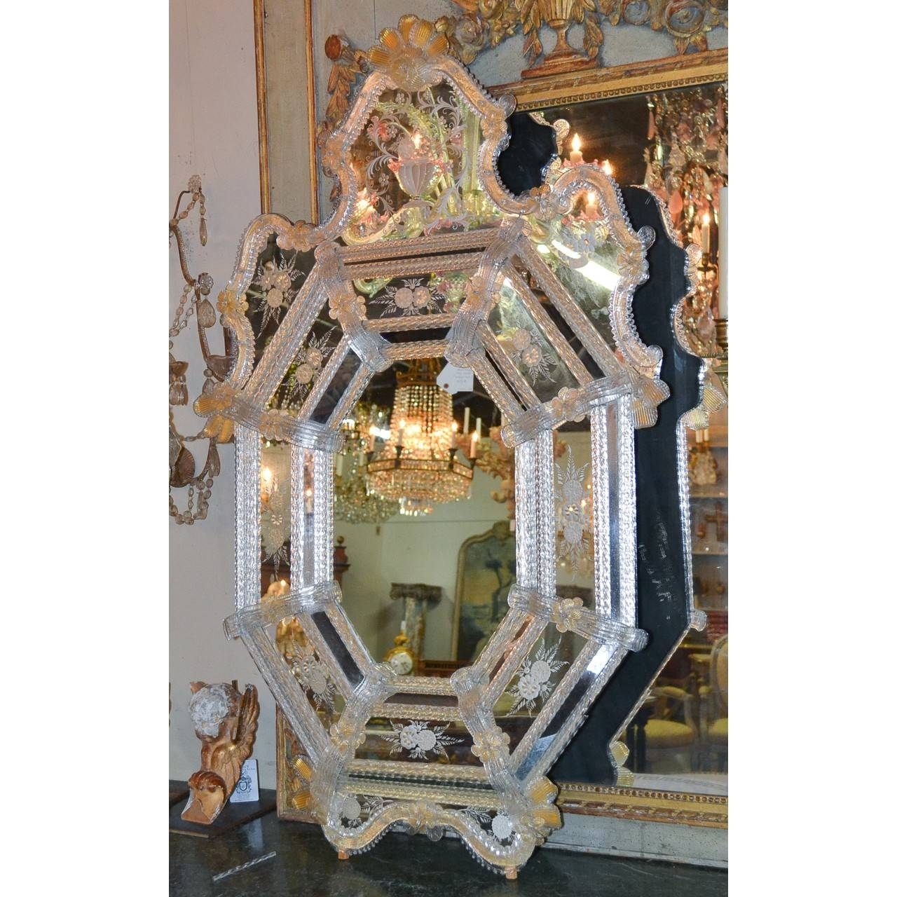 Beautiful Antique Venetian Etched Glass Mirror - Legacy Antiques intended for Venetian Etched Glass Mirrors (Image 4 of 15)