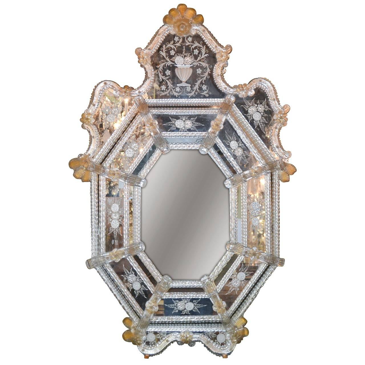 Beautiful Antique Venetian Etched Glass Mirror - Legacy Antiques regarding Venetian Etched Glass Mirrors (Image 5 of 15)