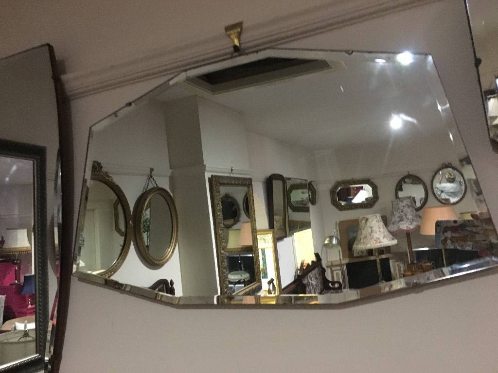 Beautiful Vintage 1930S Art Deco Frameless Bevelled Edge Wall throughout Art Deco Frameless Mirrors (Image 10 of 15)