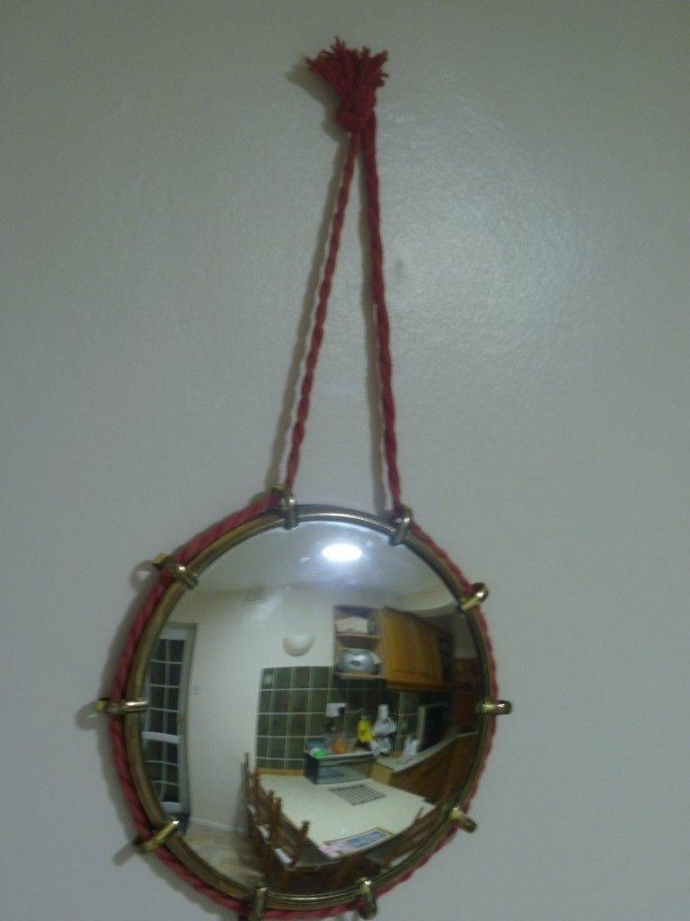 Beautiful Vintage Round Convex Wall Mirror With Rope For Sale | In in Round Convex Wall Mirrors (Image 3 of 15)
