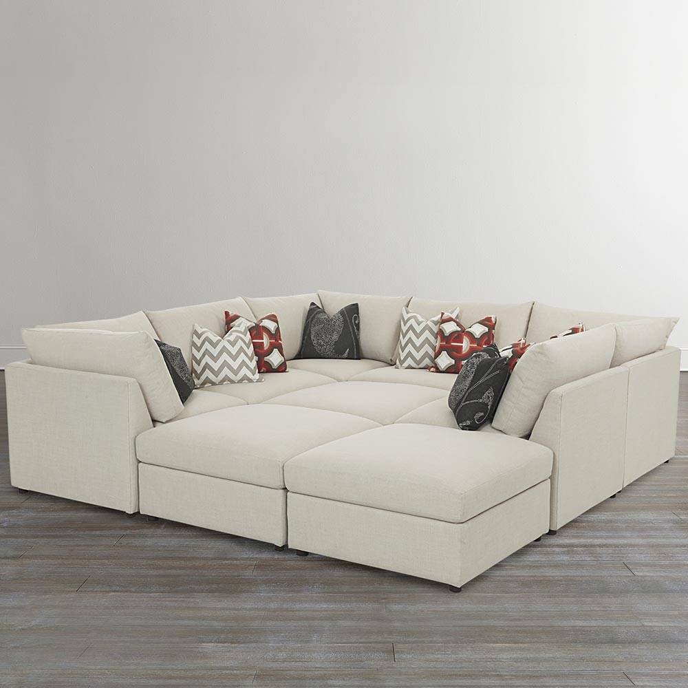 Beckham Upholstered Pit Sectional   Living Room   Bassett Furniture Throughout Half Moon Sectional Sofas (View 1 of 15)