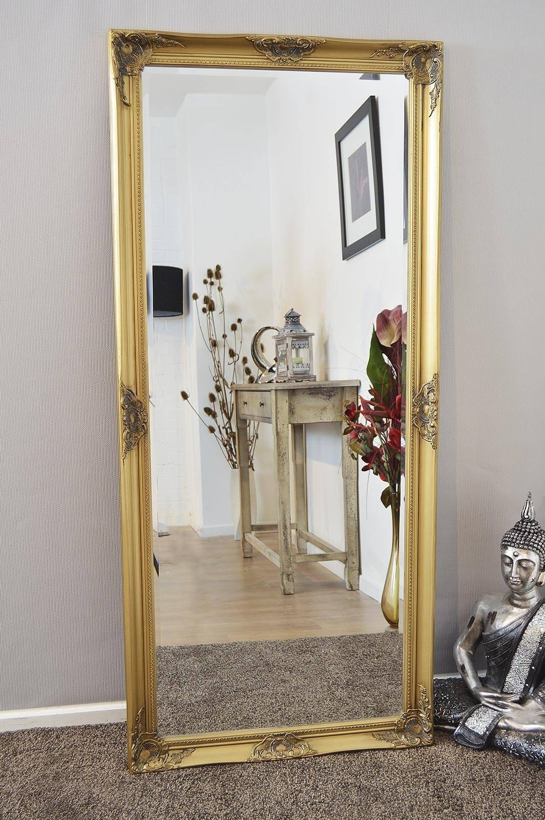 Bedroom Furniture : Wood Framed Mirrors Leaner Mirror Gold Mirror Regarding Gold Full Length Mirrors (View 2 of 15)