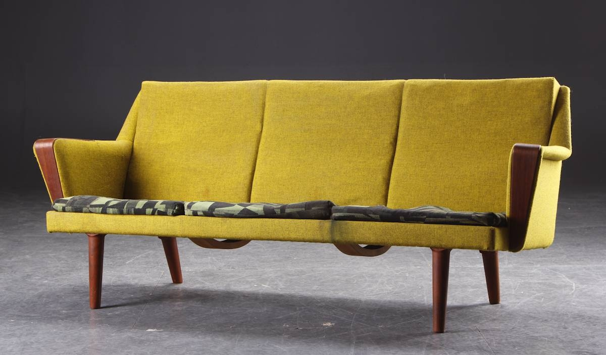 Before + After - Danish Modern Chartreuse Sofa • Mid Century Mobler pertaining to Chartreuse Sofas (Image 1 of 15)