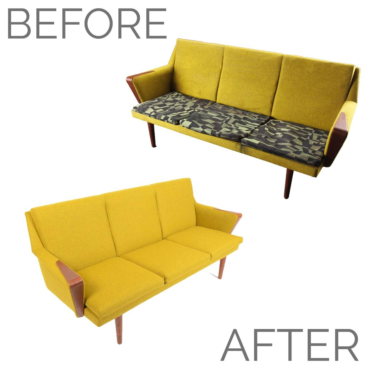 Before + After - Danish Modern Chartreuse Sofa • Mid Century Mobler within Chartreuse Sofas (Image 2 of 15)