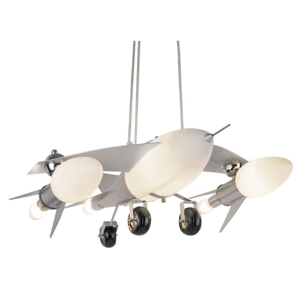 Bel Air Lighting Jet Airplane 6-Light Frosted Glass Pendant With for Airplane Pendant Lights (Image 8 of 15)