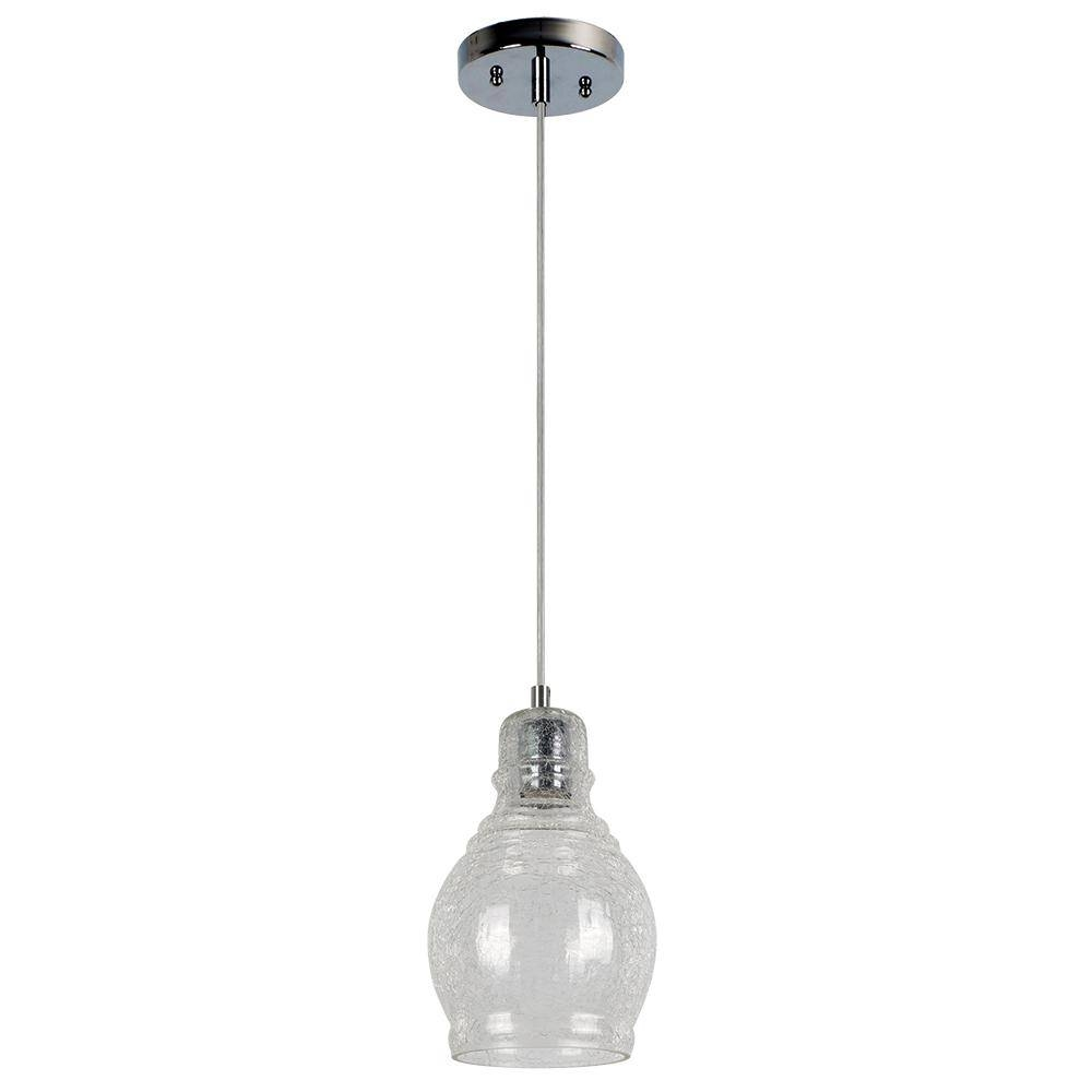 Beldi Vieste Collection 1 Light Chrome Pendant Fixture Cracked Within Cracked Glass Pendant Lights (View 2 of 15)