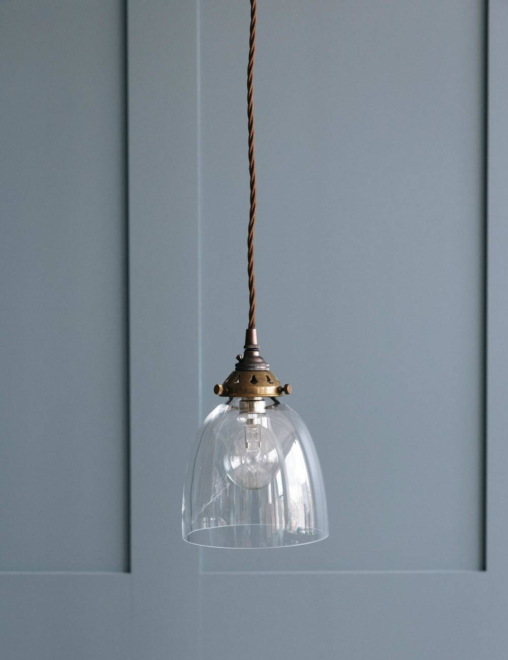 Bell Blown Glass Pendant Light - Various Sizes   Rose & Grey for Small Glass Pendant Lights (Image 3 of 15)
