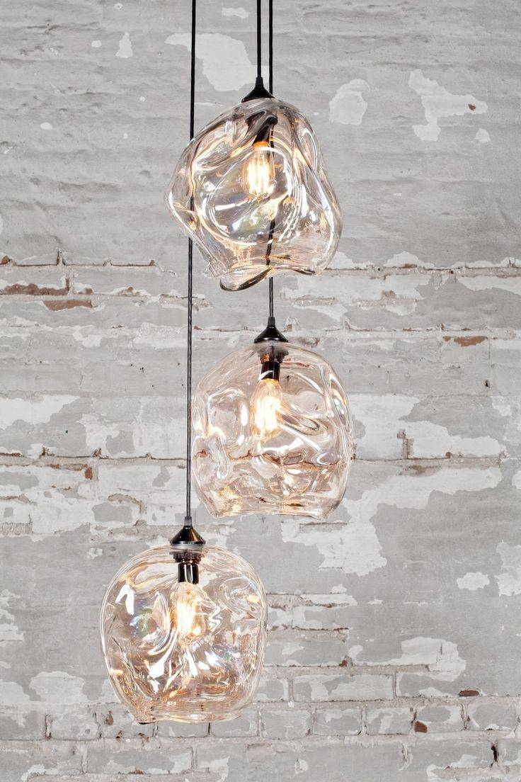 Popular Photo of Cluster Glass Pendant Light Fixtures