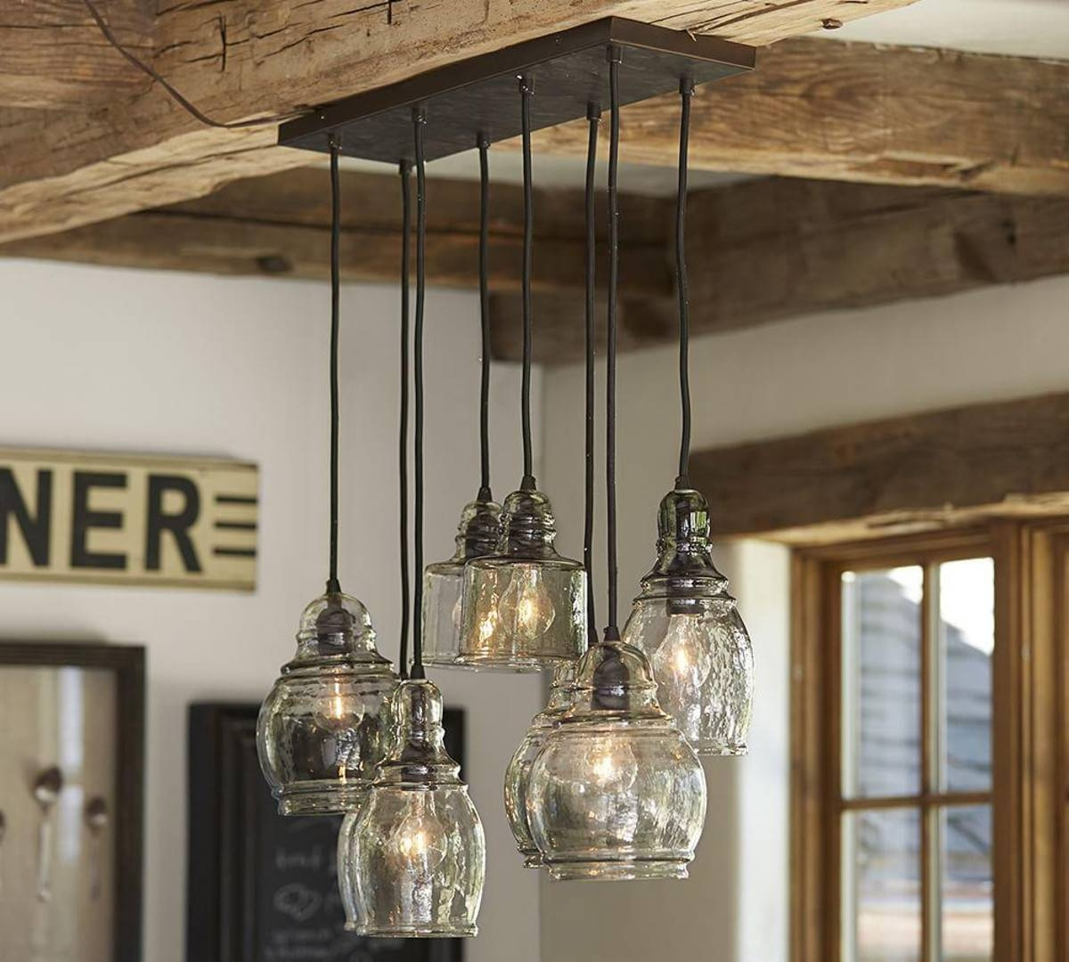 Best Barn Light Pendant : Crustpizza Decor - How To Change Barn in Paxton Glass 8 Light Pendants (Image 10 of 15)