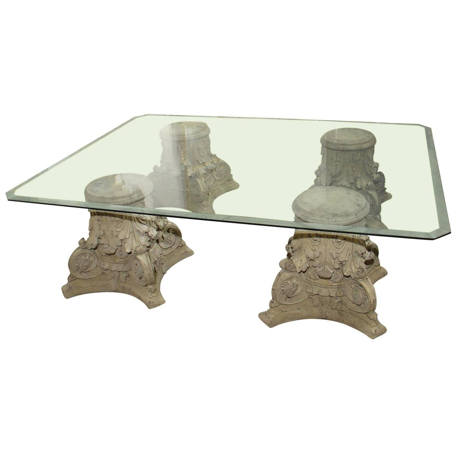 Beveled Glass Top Coffee Table On Cast Stone Corinthian Capital with regard to Glass and Stone Coffee Table (Image 2 of 15)
