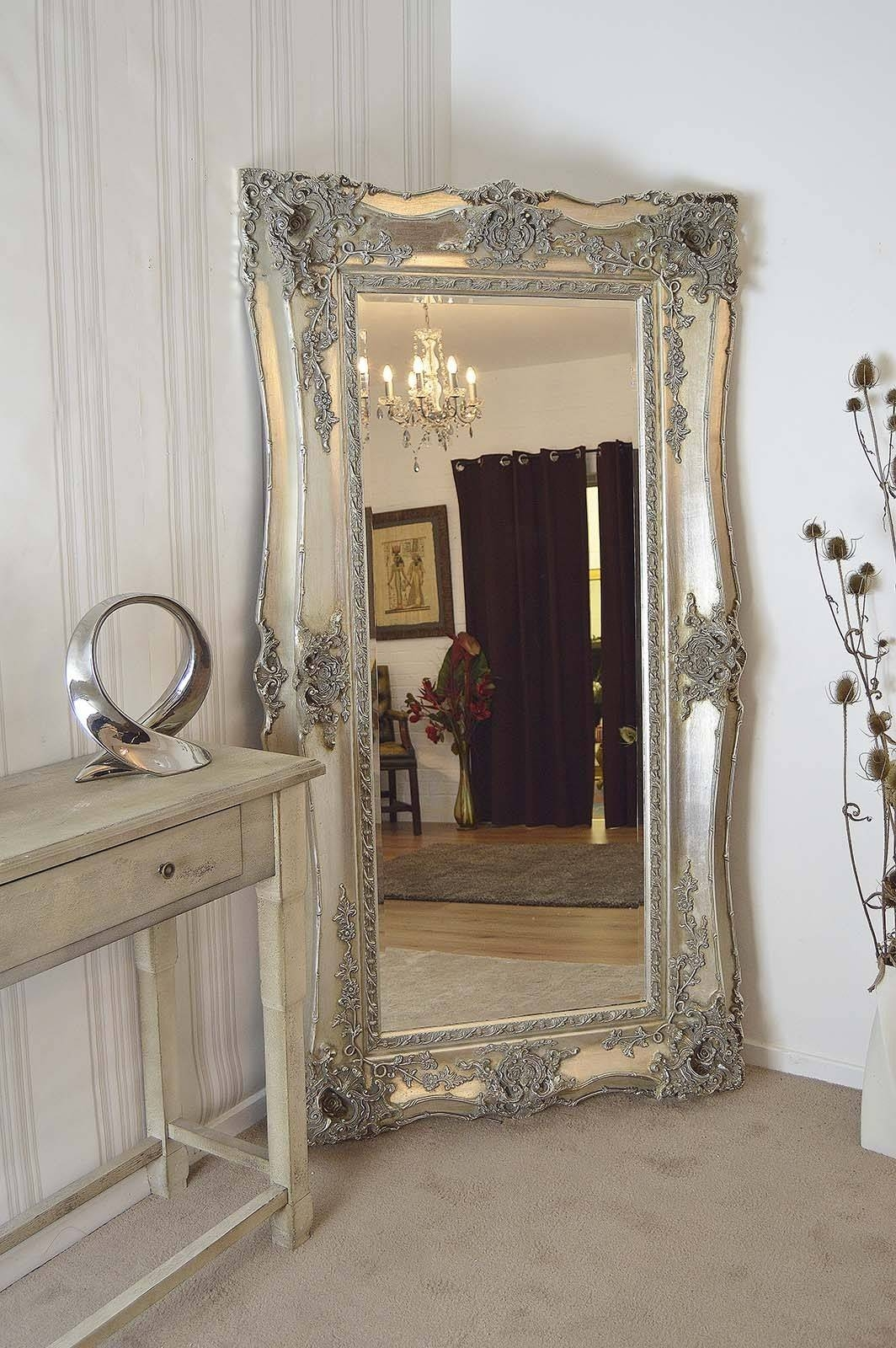 Big Silver Framed Mirror | Vanity Decoration for Large Silver Vintage Mirrors (Image 3 of 15)
