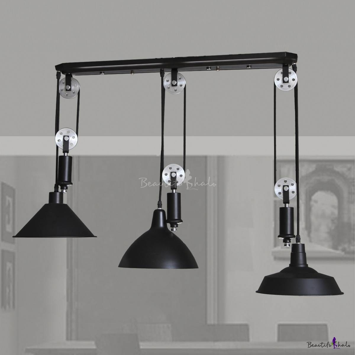 Black 3 Light Pulley Large Pendant Light - Beautifulhalo for Pulley Pendant Lights (Image 7 of 15)