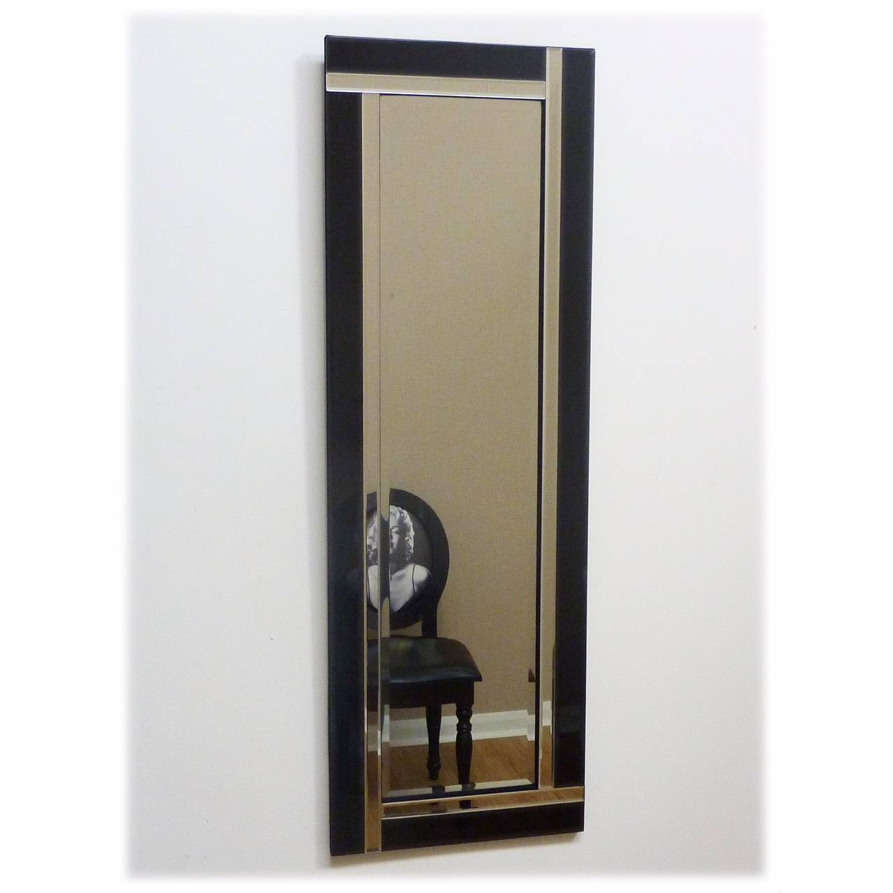 Black And Clear Glass Mirror 120 X 40Cm Black & Clear Glass Mirror for Art Deco Full Length Mirrors (Image 7 of 15)