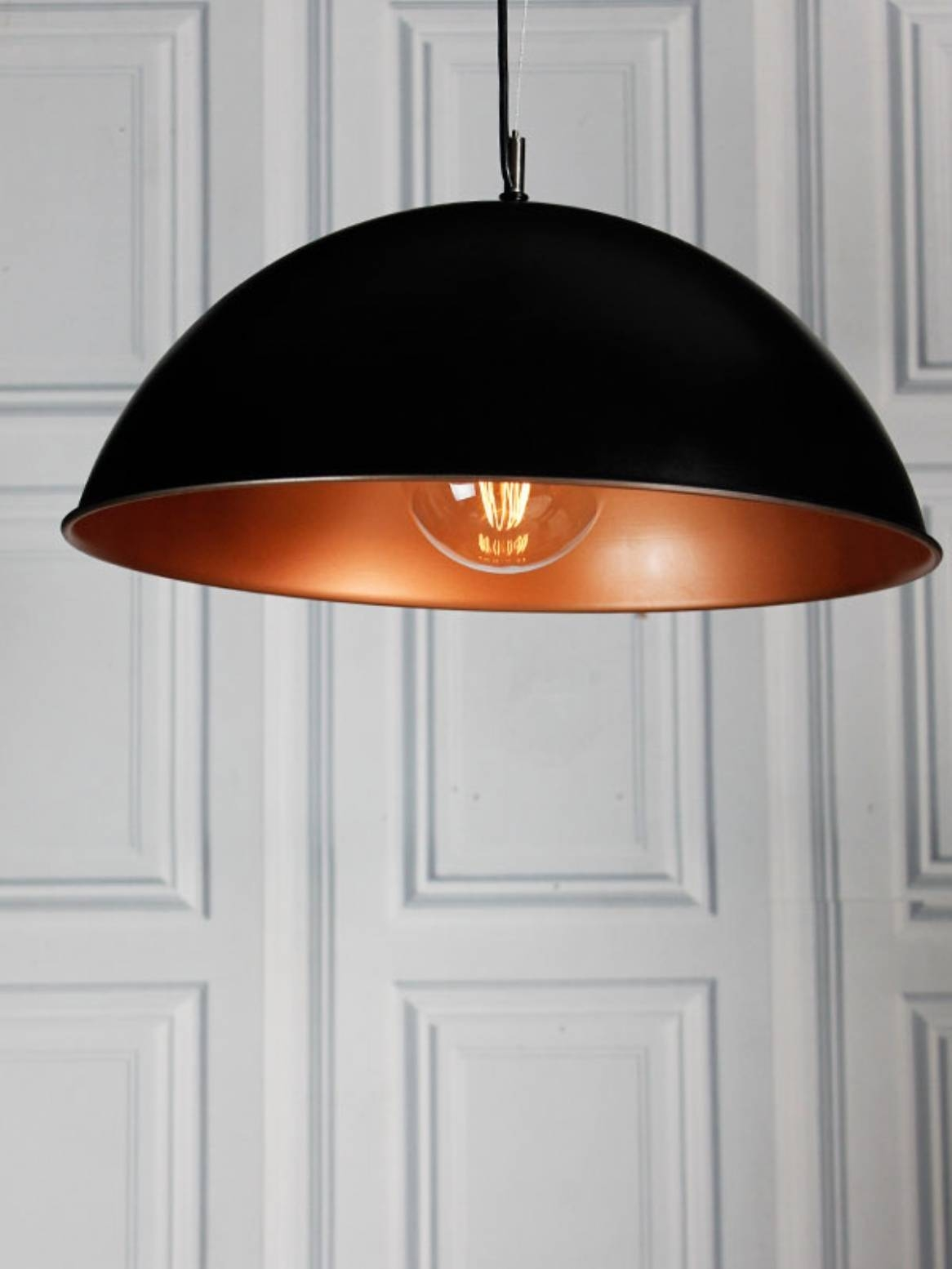 Black And Copper Dome Pendant Light for Large Dome Pendant Lights (Image 2 of 15)