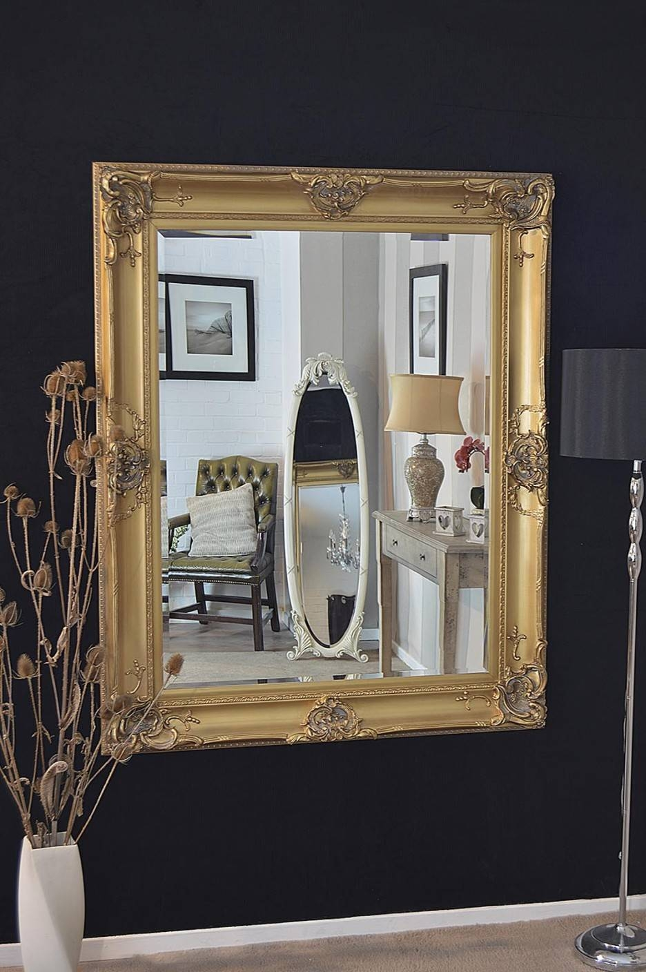 Black And Gold Framed Mirror 56 Outstanding For Mirror A Black intended for Black And Gold Wall Mirrors (Image 7 of 15)