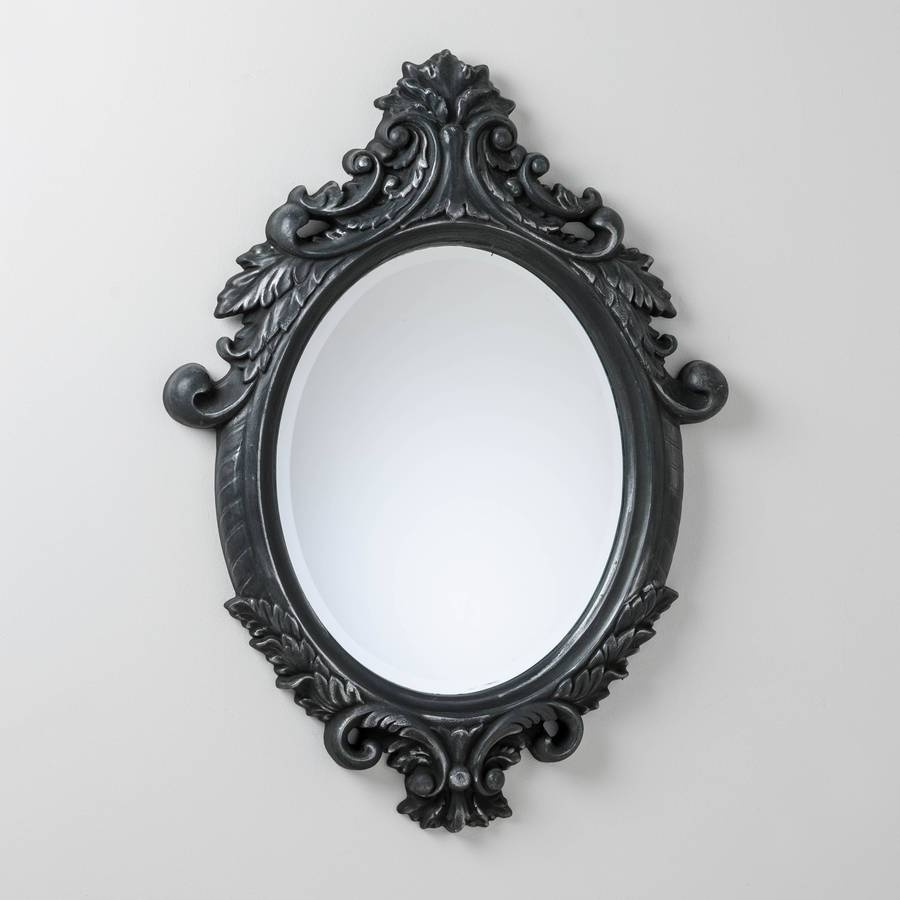 Black And Silver Ornate Oval Mirrorhand Crafted Mirrors in Black Ornate Mirrors (Image 3 of 15)
