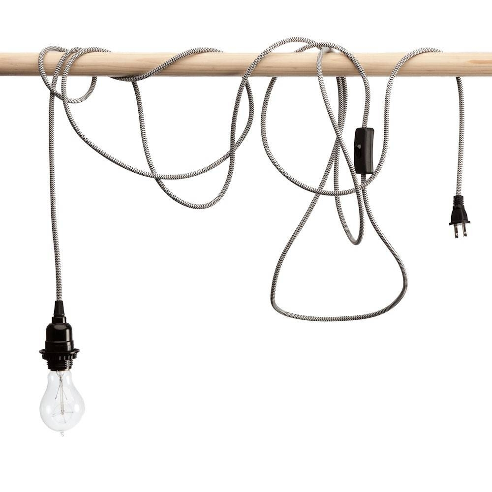 Black And White Multi Colored Nylon Braided Cloth Covered Light Cord within Cord Sets for Pendant Lights (Image 4 of 15)