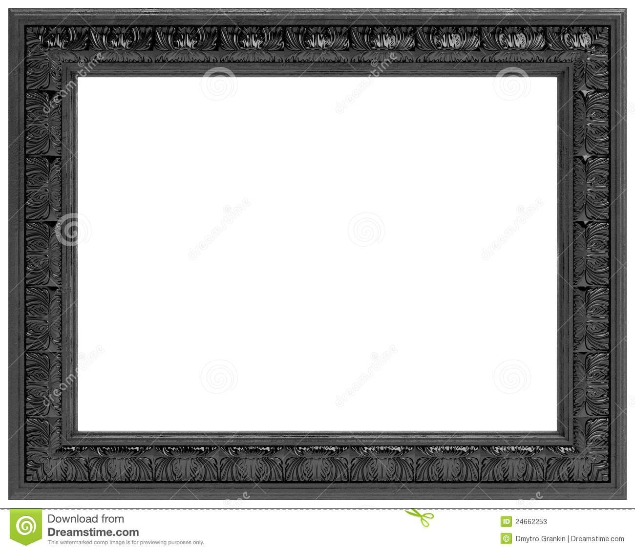 Black Carved Frame For A Mirror Isolated On White Stock Photos With Antique Black Mirrors (View 9 of 15)