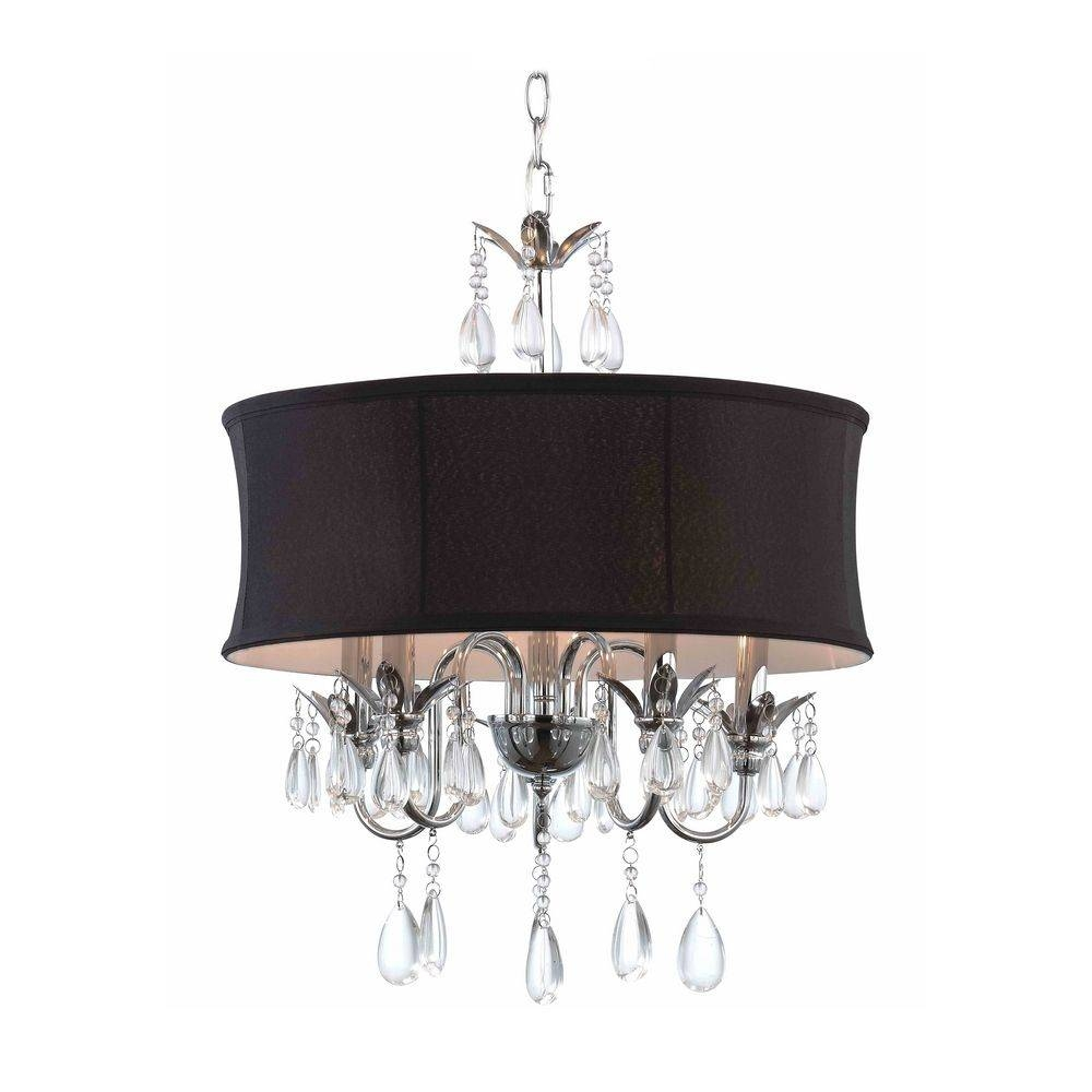Black Drum Shade Crystal Chandelier Pendant Light | 2234 Bk with Drum Pendant Lights (Image 1 of 15)