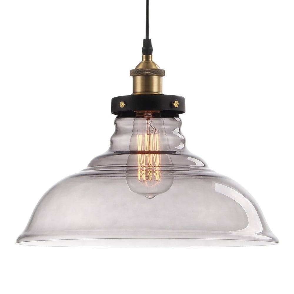 Black Factory Glass Large Dome Pendant Light | Commercial Lighting for Large Dome Pendant Lights (Image 3 of 15)