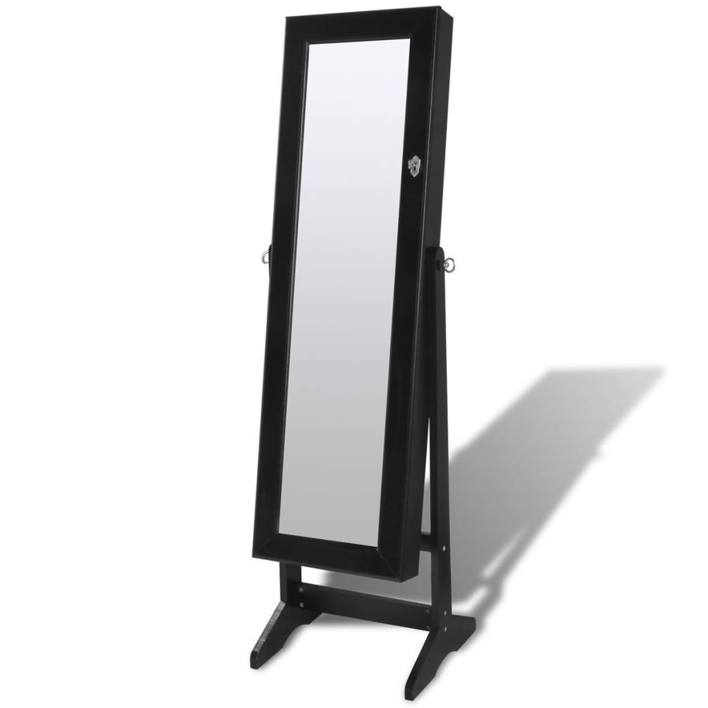 Black Free Standing Jewelry Cabinet With Led Light And Mirror in Free Standing Black Mirrors (Image 3 of 15)