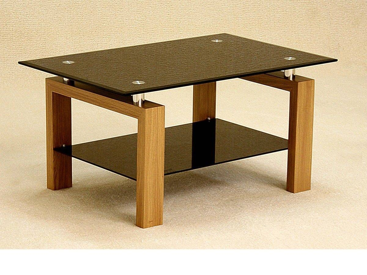 Black Glass Coffee Table With Wood Oak Finish Base - Homegenies intended for Oak And Glass Coffee Table (Image 1 of 15)