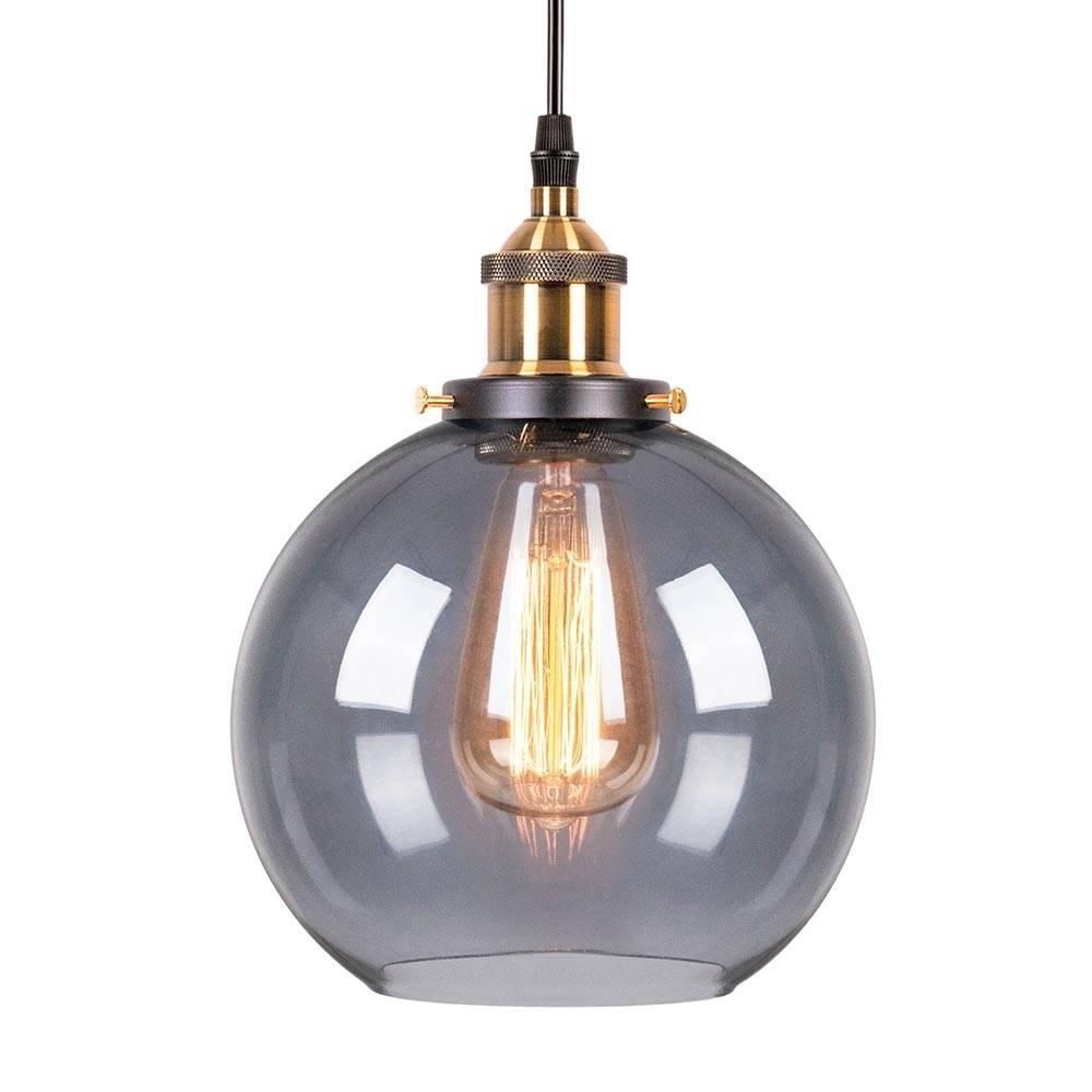 Black Glass Factory Sphere Pendant Light | Bar & Restaurant Lighting regarding Glass Sphere Pendant Lights (Image 2 of 15)