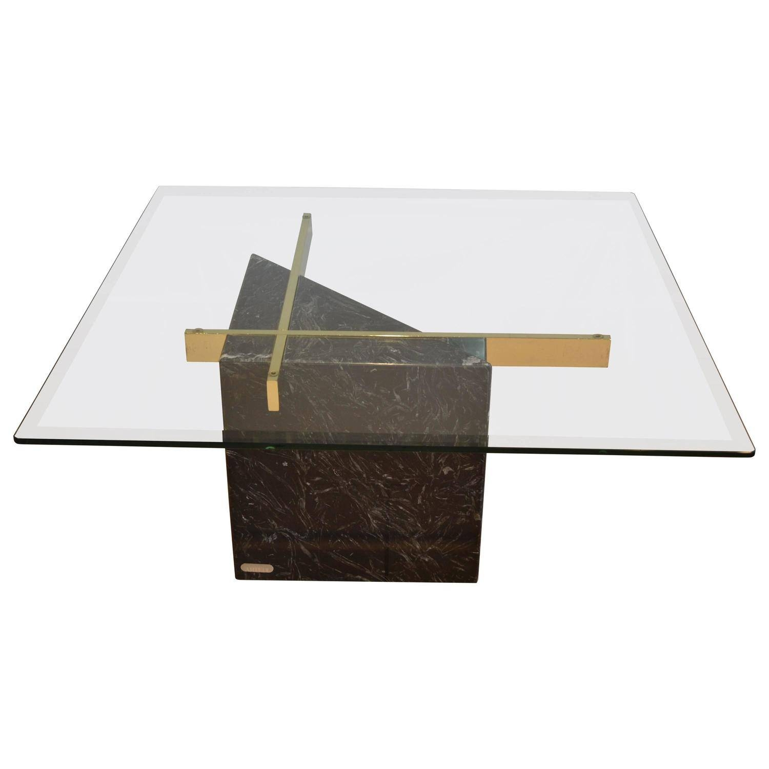 Black Marquina Marble Base And Glass Top Coffee Tableartedi Pertaining To Marble Base Glass Top Coffee Table (View 8 of 15)