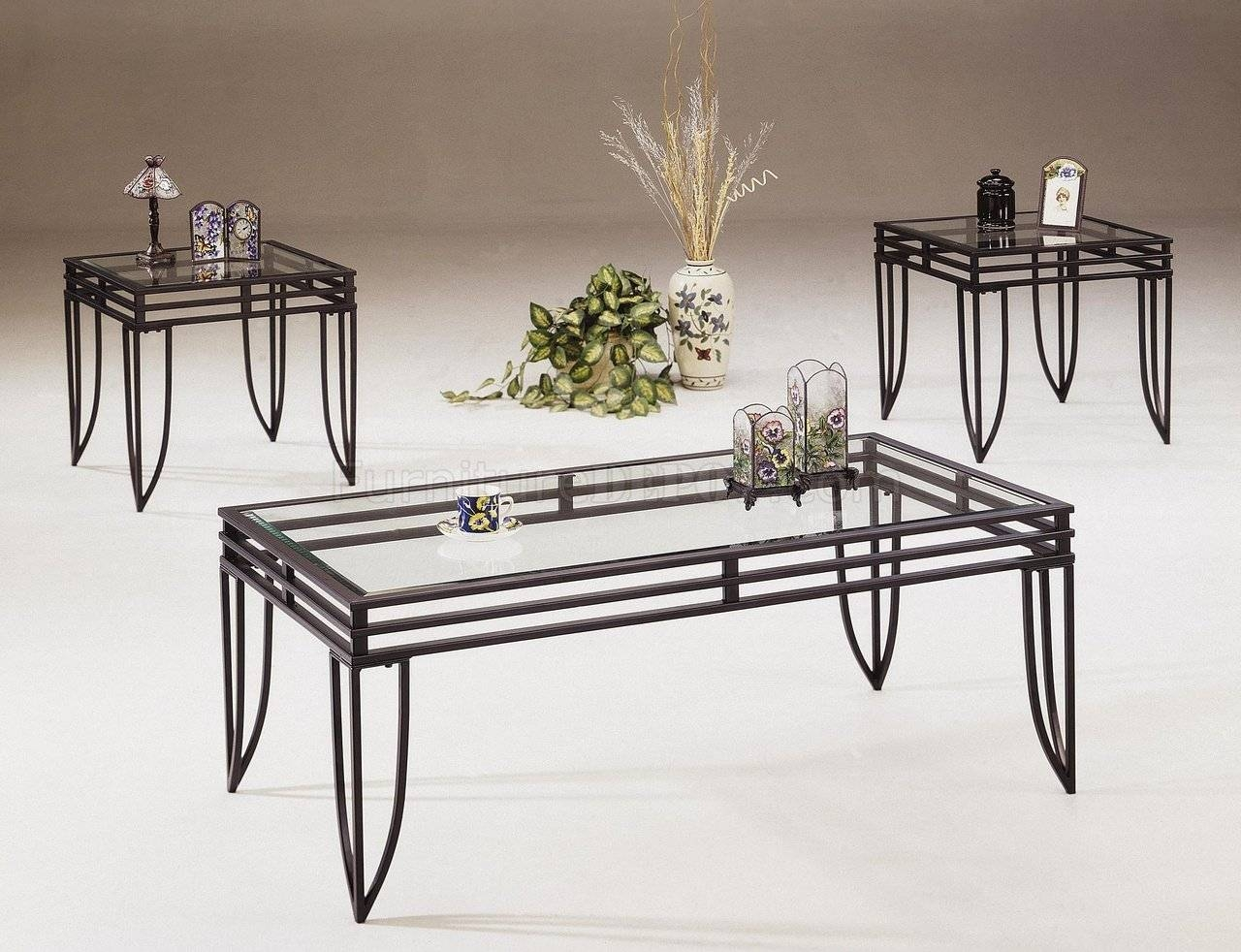 Black Metal Base 3Pc Coffee Table Set W/clear Glass Tops inside Glass And Black Metal Coffee Table (Image 3 of 15)