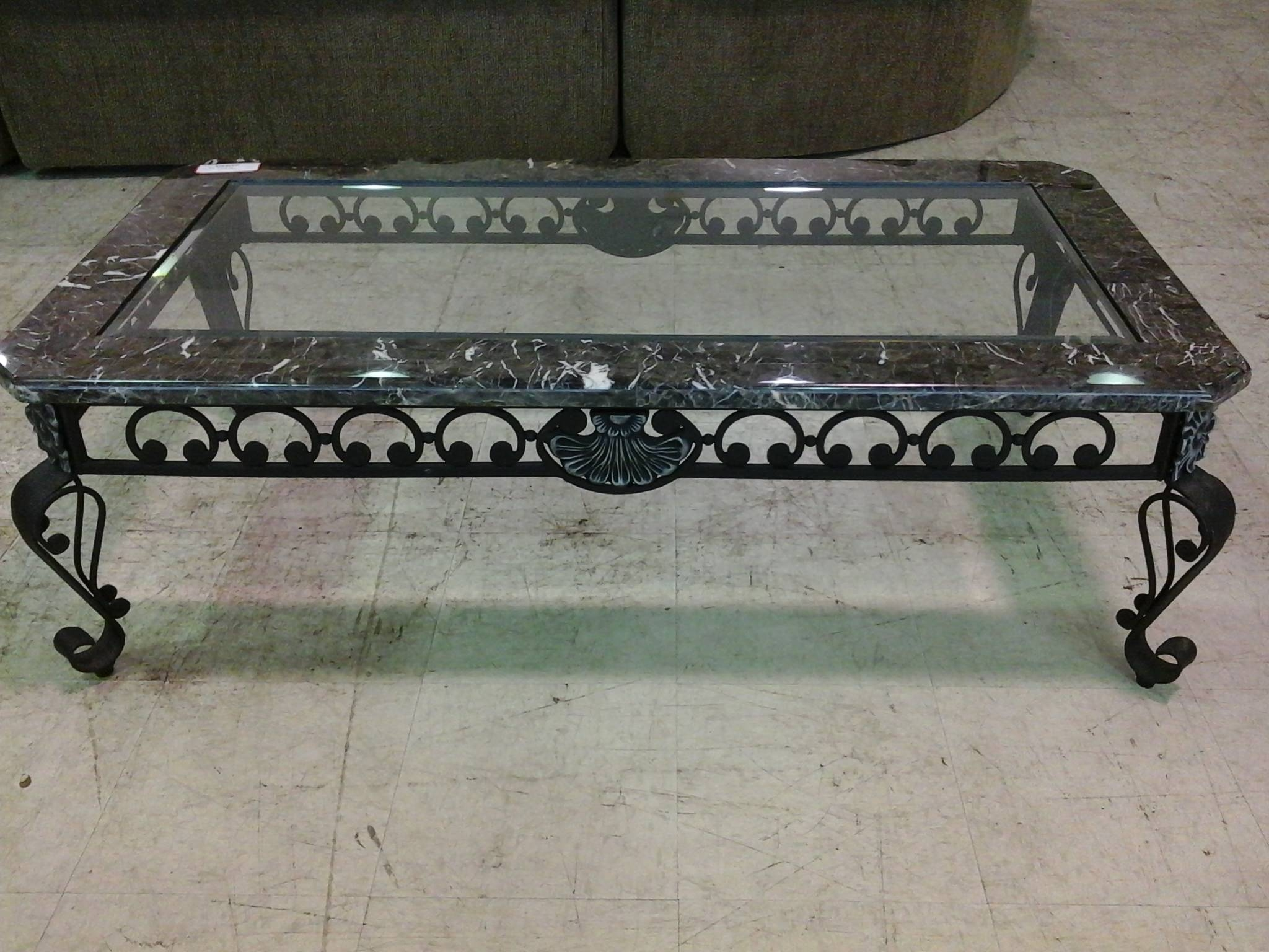 Black Wrought Iron Coffee Table With Black Marble And Glass Top in Marble and Glass Coffee Table (Image 5 of 15)