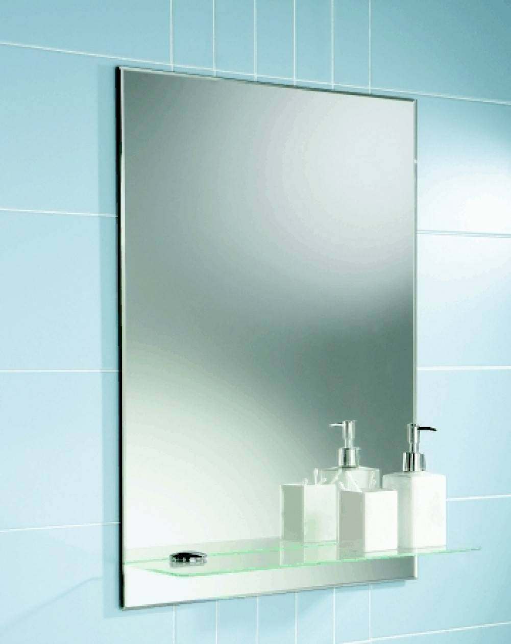 Blue Ceramic Wall Tile Mirror Without Frame Glass Shelving Bottle with regard to Wall Mirrors Without Frame (Image 7 of 15)