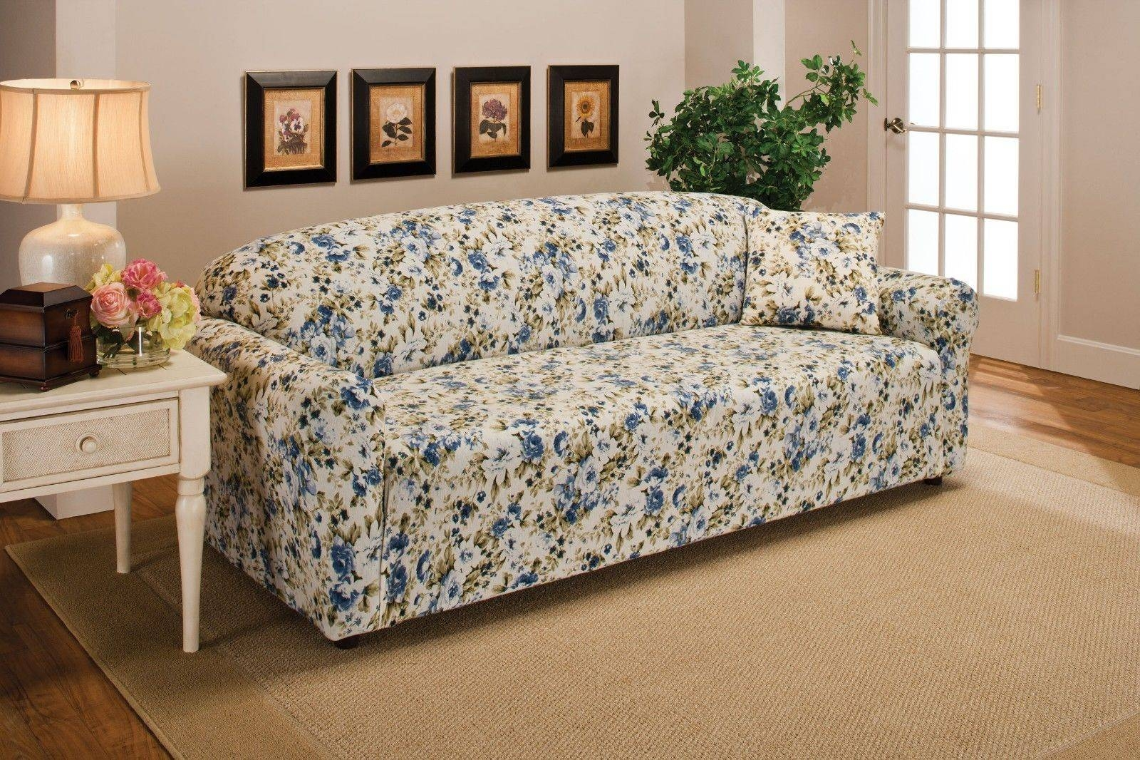 Blue Floral Flower Jersey Sofa Stretch Slipcover Couch Cover Chair regarding Floral Sofa Slipcovers (Image 2 of 15)
