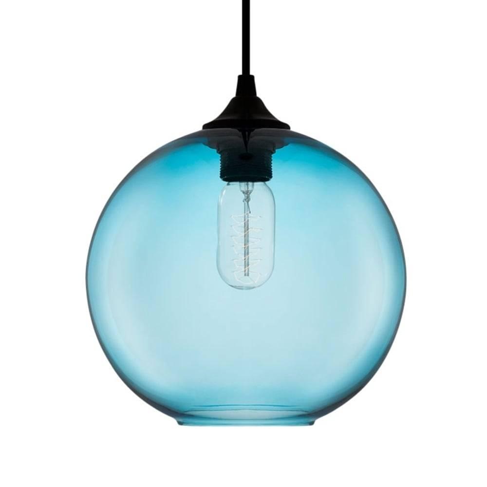 Blue Industrial Solitaire Glass Pendant Light | Bar & Restaurant Inside Blue Pendant Light Fixtures (View 8 of 15)