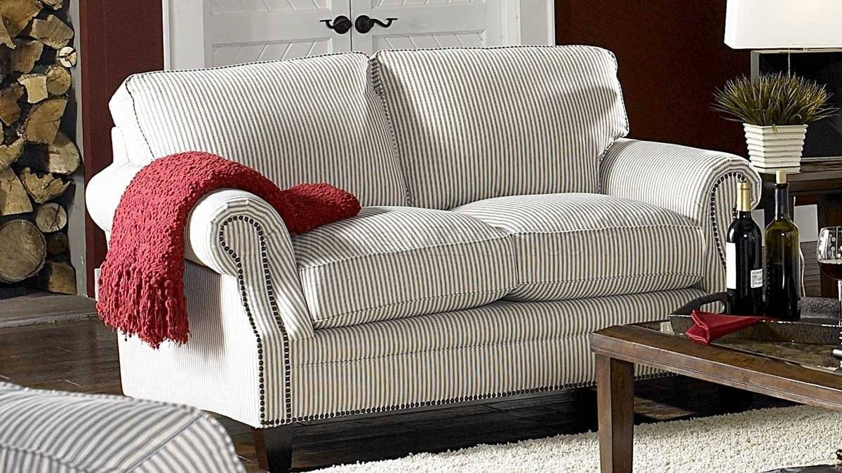 & Blue Striped Fabric Cottage Style Sofa & Loveseat Set Within Cottage Style Sofas And Chairs (View 1 of 15)