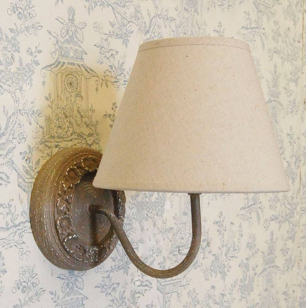 Bowley & Jackson French Wooden Natural Wall Light With Grey Shade regarding French Style Lights (Image 3 of 15)