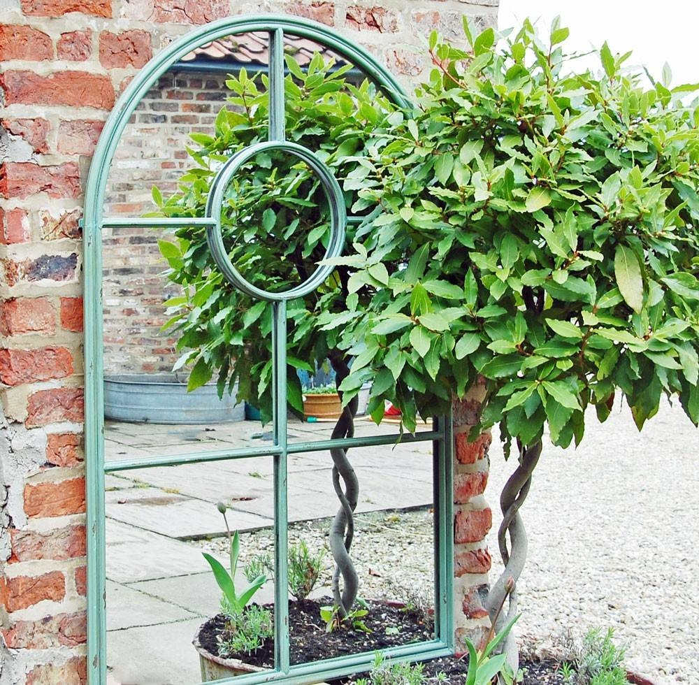 Bowley & Jackson Green Metal Arched Window Garden Mirror Bowley with Metal Garden Mirrors (Image 7 of 15)