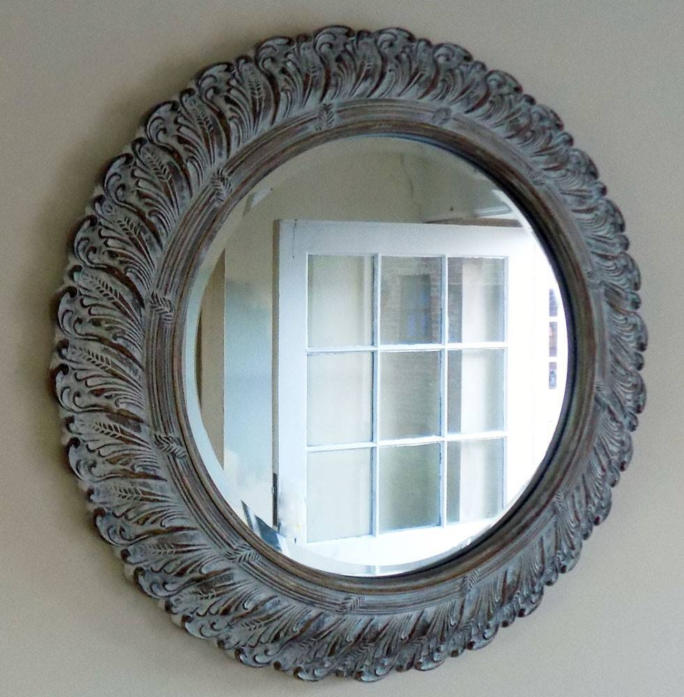 Bowley & Jackson Round Wall Mounted Shabby Chic French Mirror pertaining to Round Shabby Chic Mirrors (Image 5 of 15)