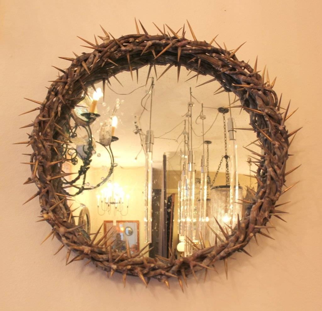 Brass Convex Thorn Mirroronik Agaronyan For Sale At 1Stdibs pertaining to Convex Decorative Mirrors (Image 1 of 15)