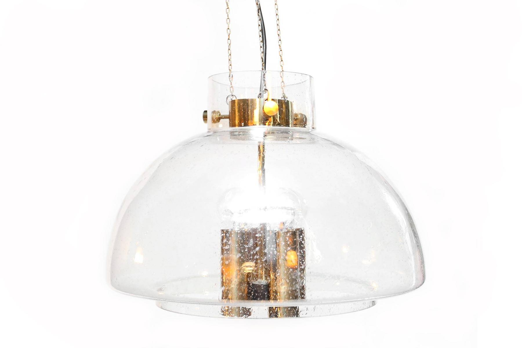 Brass & Hand-Blown Glass Pendant From Glashutte Limburg For Sale in Hand Blown Glass Pendants (Image 4 of 15)