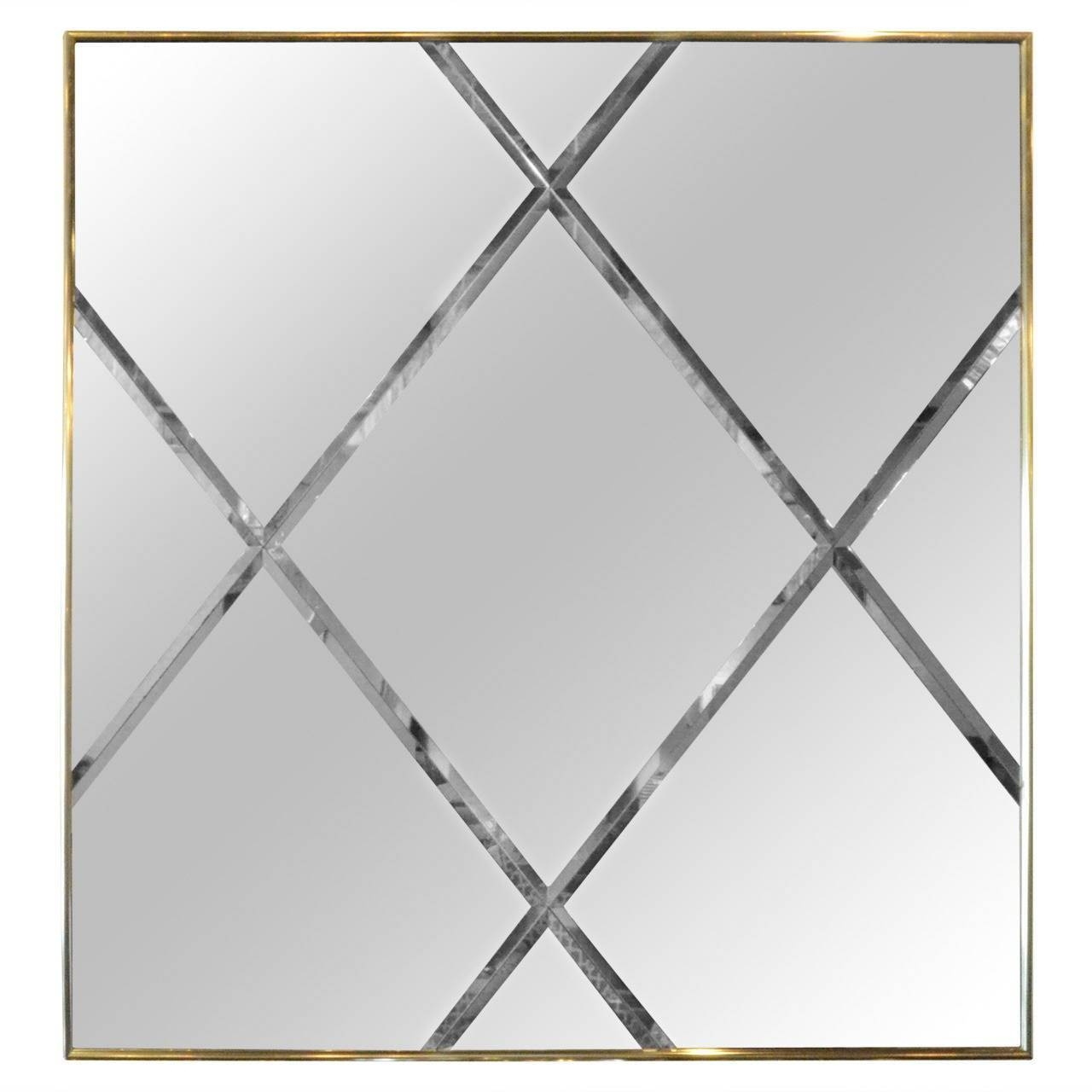 Brass Harlequin Pattern Beveled Glass Mirror For Sale At 1Stdibs Regarding Bevelled Glass Mirrors (View 7 of 15)