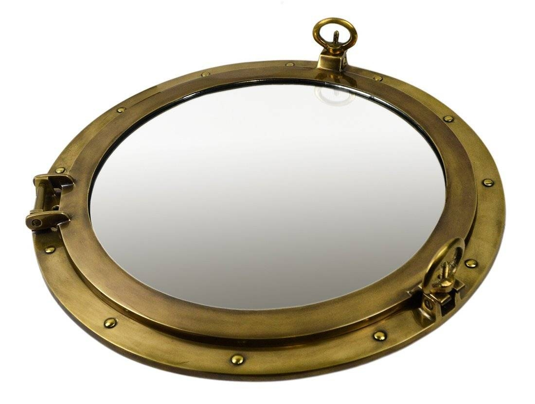 Brass Ships Porthole Mirrors Nickle Finish Porthole Mirrors Chrome within Porthole Mirrors (Image 1 of 15)