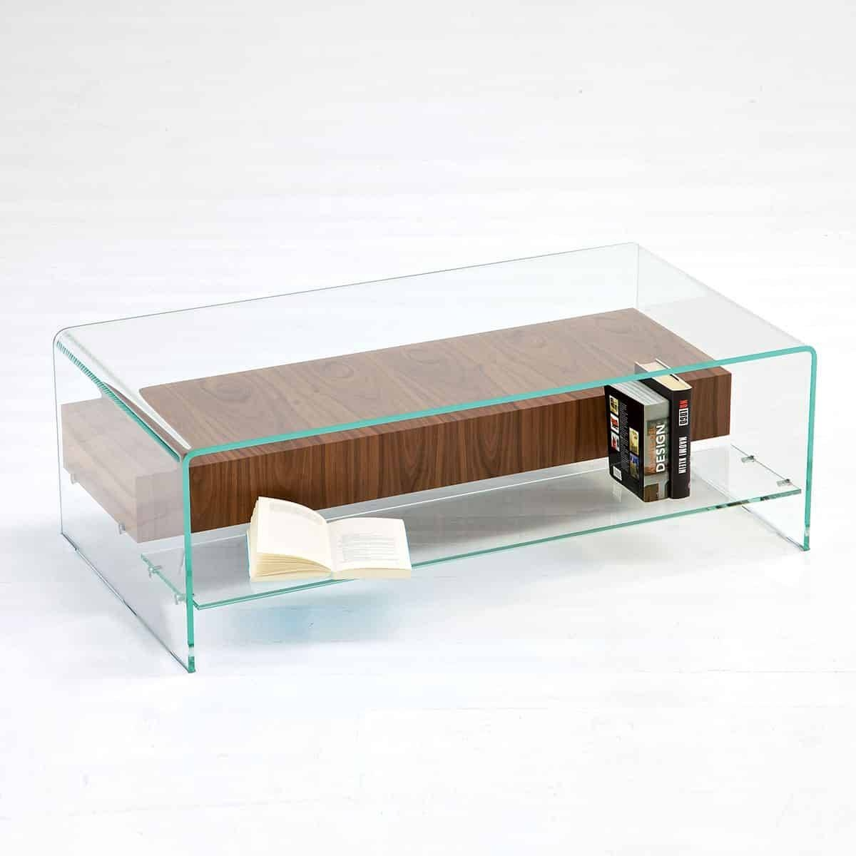Bridge Glass Coffee Table With Shelf And Drawer - Klarity - Glass within Glass Coffee Table With Shelf (Image 2 of 15)