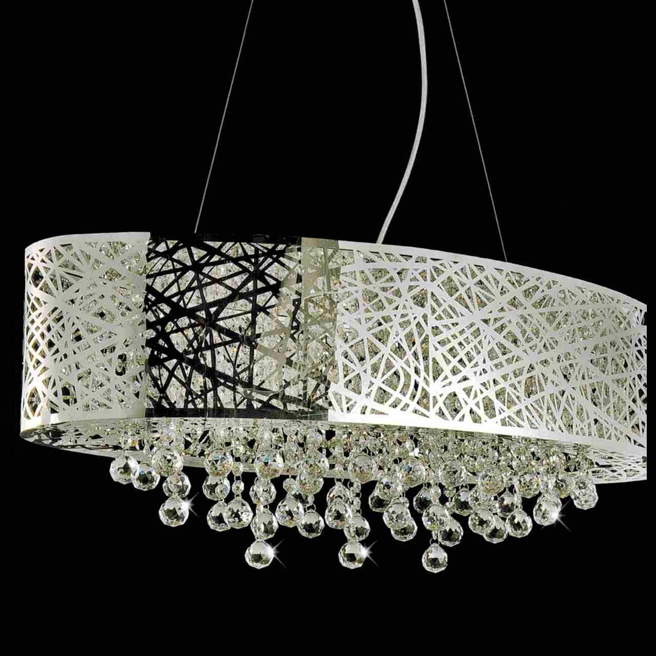"Brizzo Lighting Stores. 32"" Web Modern Laser Cut Drum Shade for Oval Pendant Lights Fixtures (Image 1 of 15)"