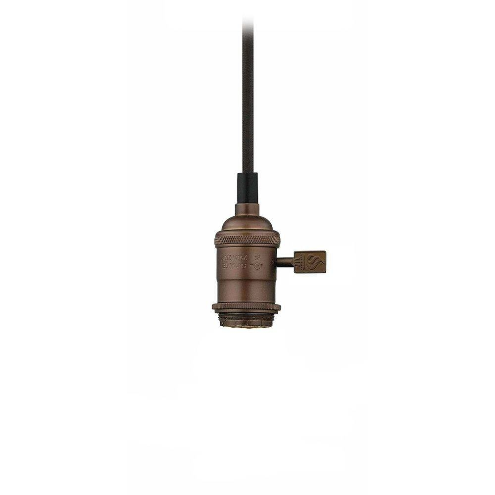 Bronze Bare Bulb Cloth Cord Mini-Pendant Light Socket Assembly in Bare Bulb Pendants (Image 5 of 15)